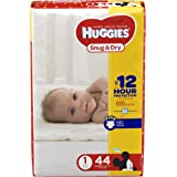 HUGGIES Snug & Dry Diapers, Size 1, 44 Count (Packaging May Vary)