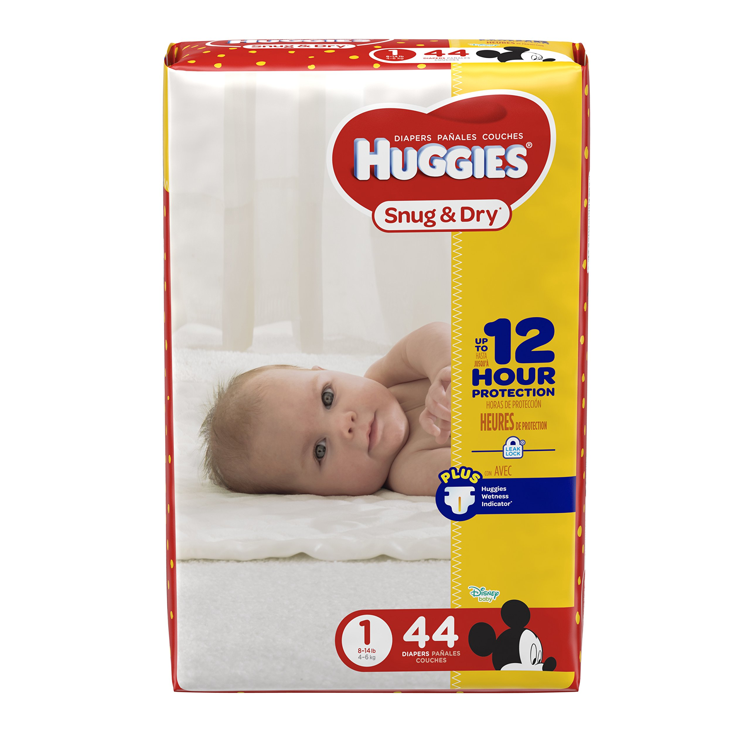 HUGGIES Snug & Dry Diapers, Size 1, 44 Count, JUMBO PACK (Packaging