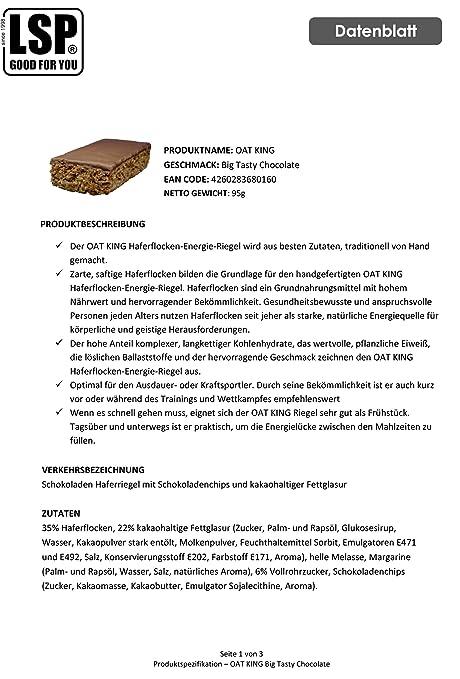 LSP Oat King Energy Bar Big Tasty Chocolate - 10 Barras: Amazon.es: Salud y cuidado personal