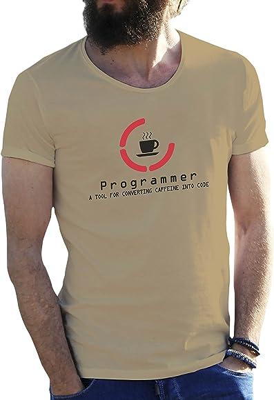 Hacker Programmer Convert Coffee Code Cool Arena Beige Camiseta ...