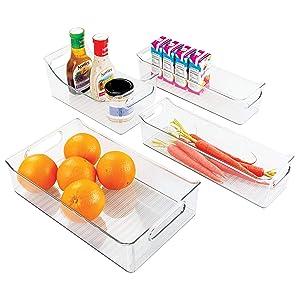 mDesign Plastic Kitchen Pantry Cabinet, Refrigerator or Freezer Food Storage Bins with Handles - Organizers for Fruit, Yogurt, Drinks, Snacks, Pasta - Set of 4 - Clear