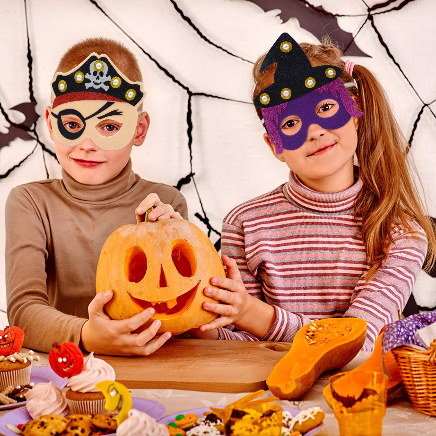 ZOYLINK Halloween Mask Kids Mask Felt Mask, LED Mask cosplay Mask Party Mask for Carnival Birthday Party Costume Ball to Play Pumpkin Pirate Witch Mask (6 Pack)