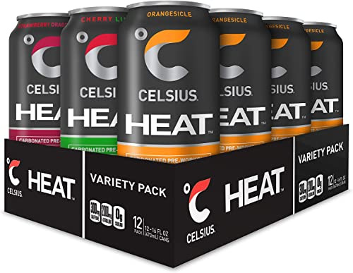 CELSIUS HEAT Performance Energy Drink 3-Flavor Variety Pack 2, ZERO Sugar, 16oz. Can, 12 Pack