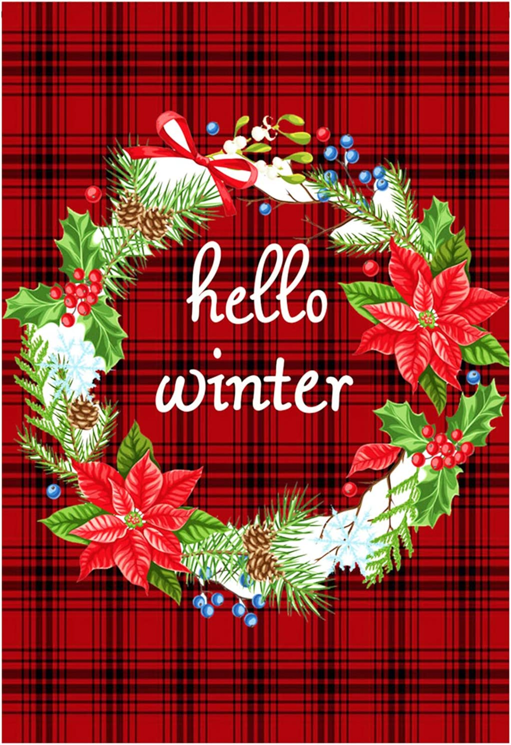 Zotemo Burlap Hello Winter Wreath Garden Flag, Double Sided Buffalo Plaid Quote Flag for Winter Christmas Home Yard Decorations 12 Inch x 18 Inch