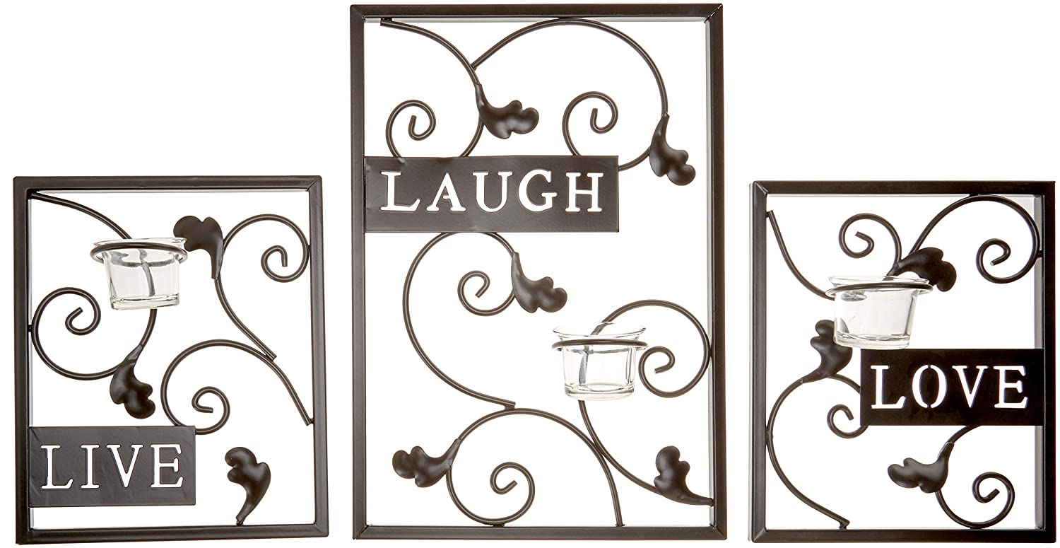 Hosley Set of Three Dark Brown Iron T-Lite Wall Sconce - Laugh, Love, Live; Hand made by Artisans. Ideal Gift for Wedding, Spa, Aromatherapy, Tea light Votive Candle Gardens O3 FBA_BS50914WC
