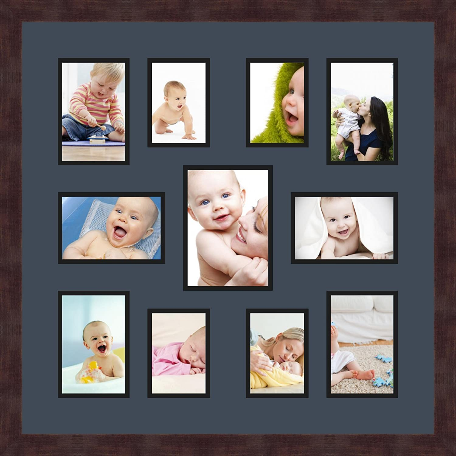 Art to Frames Double-Multimat-1029-586//89-FRBW26061 Collage Frame Photo Mat Double Mat with 6-4x6 and 4-3.5x5 and 1-5x7 Openings and Espresso Frame