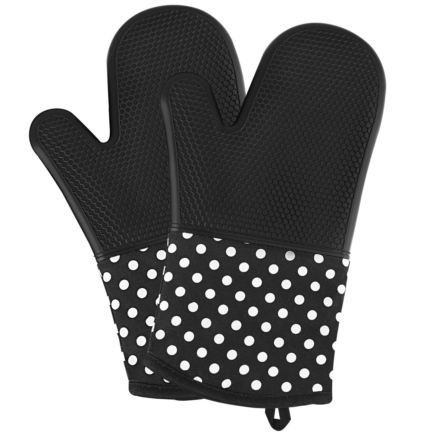 WARMTHOU Silicone Oven Mitts Heat Resistant to 572°F Professional Grade Kitchen Non-Slip Oven Gloves Potholders for Baking Cooking Microwave Pizza BBQ - 1 Pair (Black)