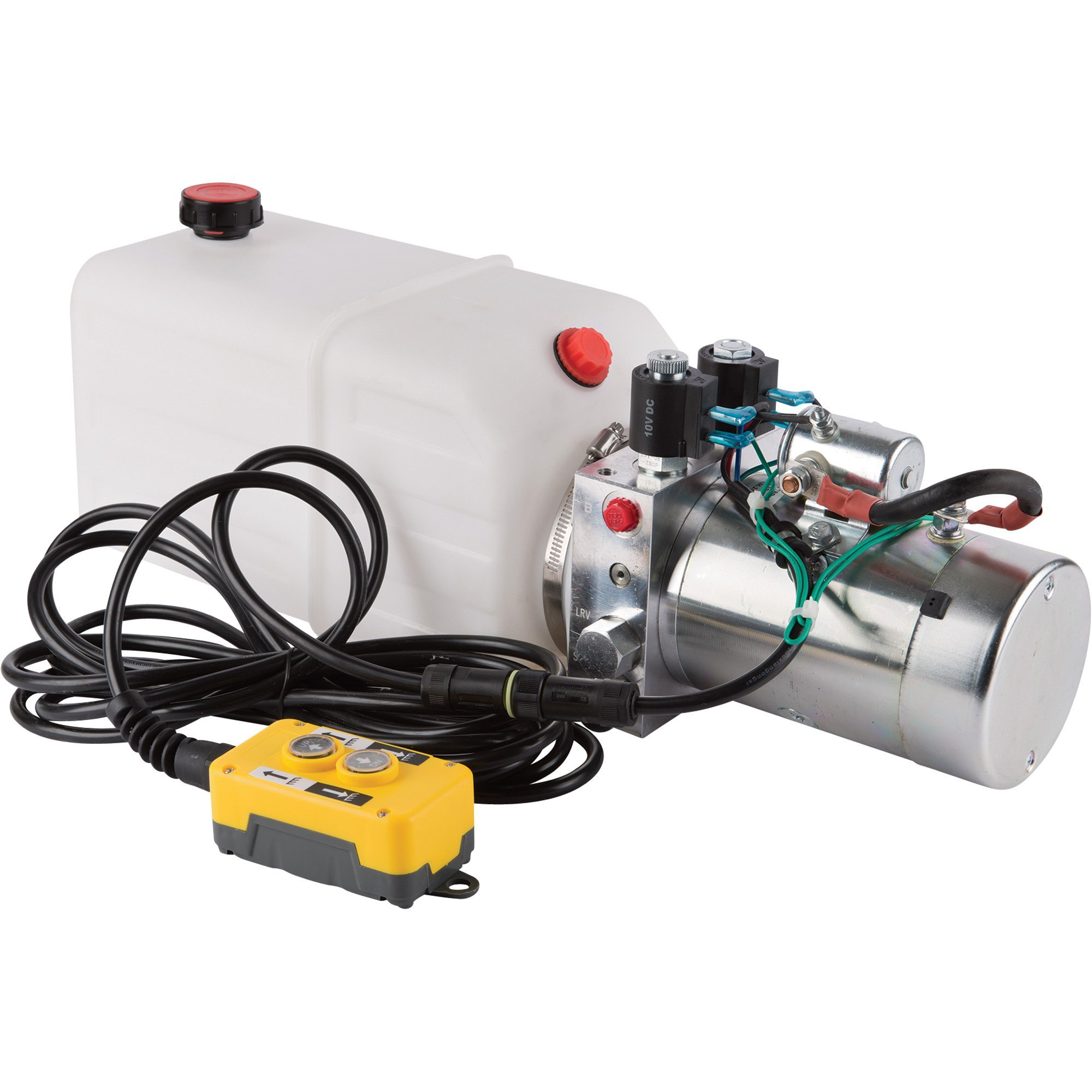NorTrac Dump Trailer Power Unit with 12V DC Motor - For Double-Acting Cylinder, 2.1 Gal. Reservoir