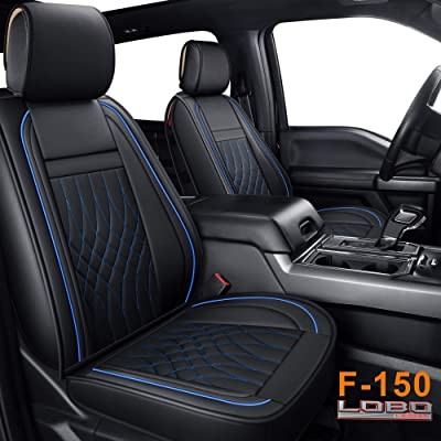 LUCKYMAN CLUB Full Set Seat Covers fit for Ford F150 Crew Cab from 2009 to 2020 and fit for F250 F350 F450 Crew Cab from 2011 to 2020 with Waterproof Faux Leather (Black & Blue Full Set): Automotive