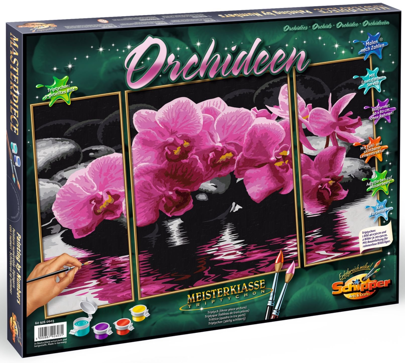 Schipper Adult Paint by Number: Tryptych Orchids Model Kit