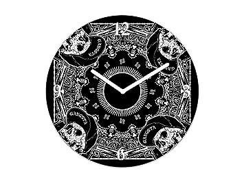 Concept Crystal Reloj de Pared de Vidrio - Reloj para Cocina y Sala - Silencioso y Decorativo; TG04 Serie Hierba: Pañuelo con Calavera: Amazon.es: Hogar