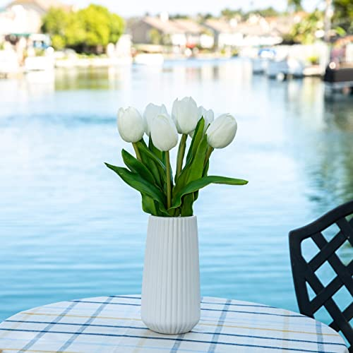 Flora Bunda Artificial Flowers Real Touch White Tulips in 8 H Ceramic Vase, 16 H Include Matte White Vase, Potted Fake Tulips, Wedding Centerpiece Office Home Decorations Vase Included