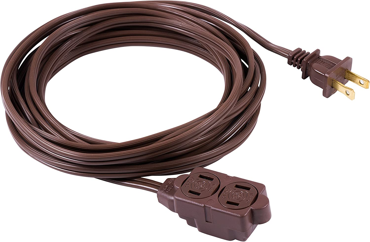GE 12 Ft Extension Cord, 3 Outlet Power Strip, 2 Prong, 16 Gauge, Twist-to-Close Safety Outlet Covers, Indoor Rated, Perfect for Home, Office or Kitchen, UL Listed, Brown, 51952