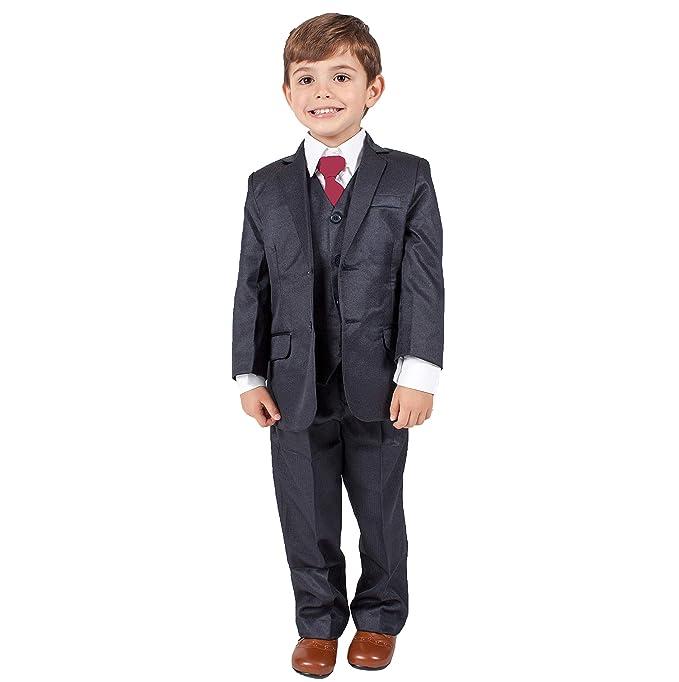 Traje formal azul marino para niños de 5 piezas, ideal para bodas (0 – 3 meses – 14 años)