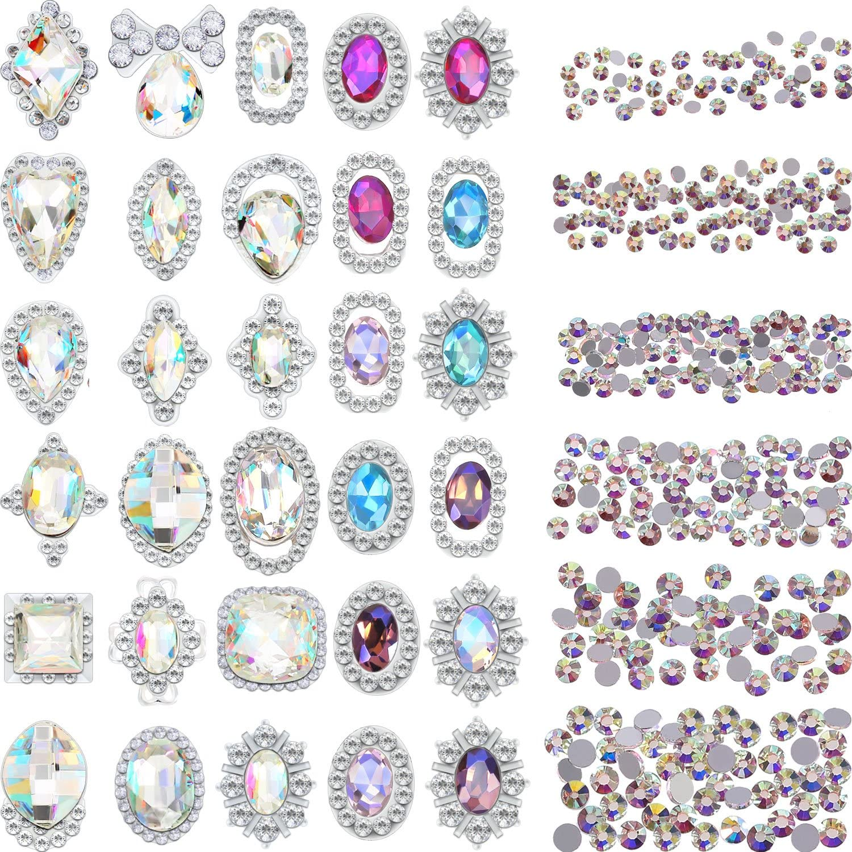 2000 Piezas de Diamante de Imitación de Espalda Plana de Color de 3D Cristal AB Gemas de Manualidades Arte de Uñas con 30 Gemas de Metal de Arte de Uña, Total 2030 Piezas (Estilo C)