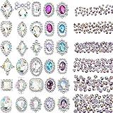 2000 Pieces 3D Crystal AB Color Flat Back Rhinestones Nail Art DIY Crafts Gemstones with 30 Nail Art Metal Gem Stones, Total 2030 Pieces
