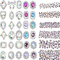 Bememo 2000 Pieces 3D Crystal AB Color Flat Back Rhinestones Nail Art DIY Crafts Gemstones with 30 Nail Art Metal Gem…