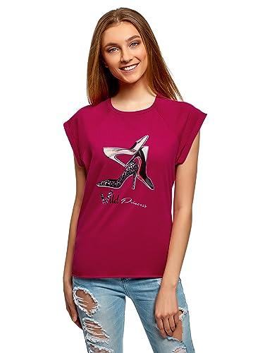 oodji Ultra Mujer Camiseta de Algodón Sin Etiqueta con Estampado y Borde Inferior No Elaborado