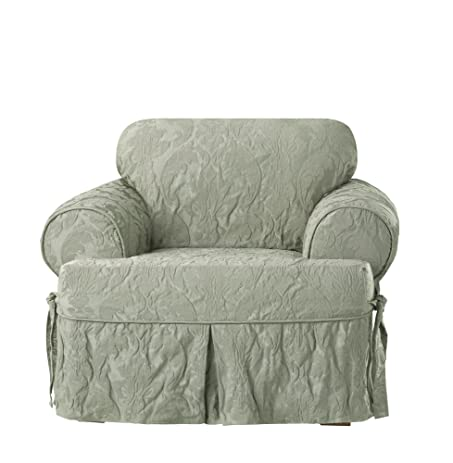 Sure Fit Matelasse Damask One Piece T Cushion Chair Slipcover   Sage