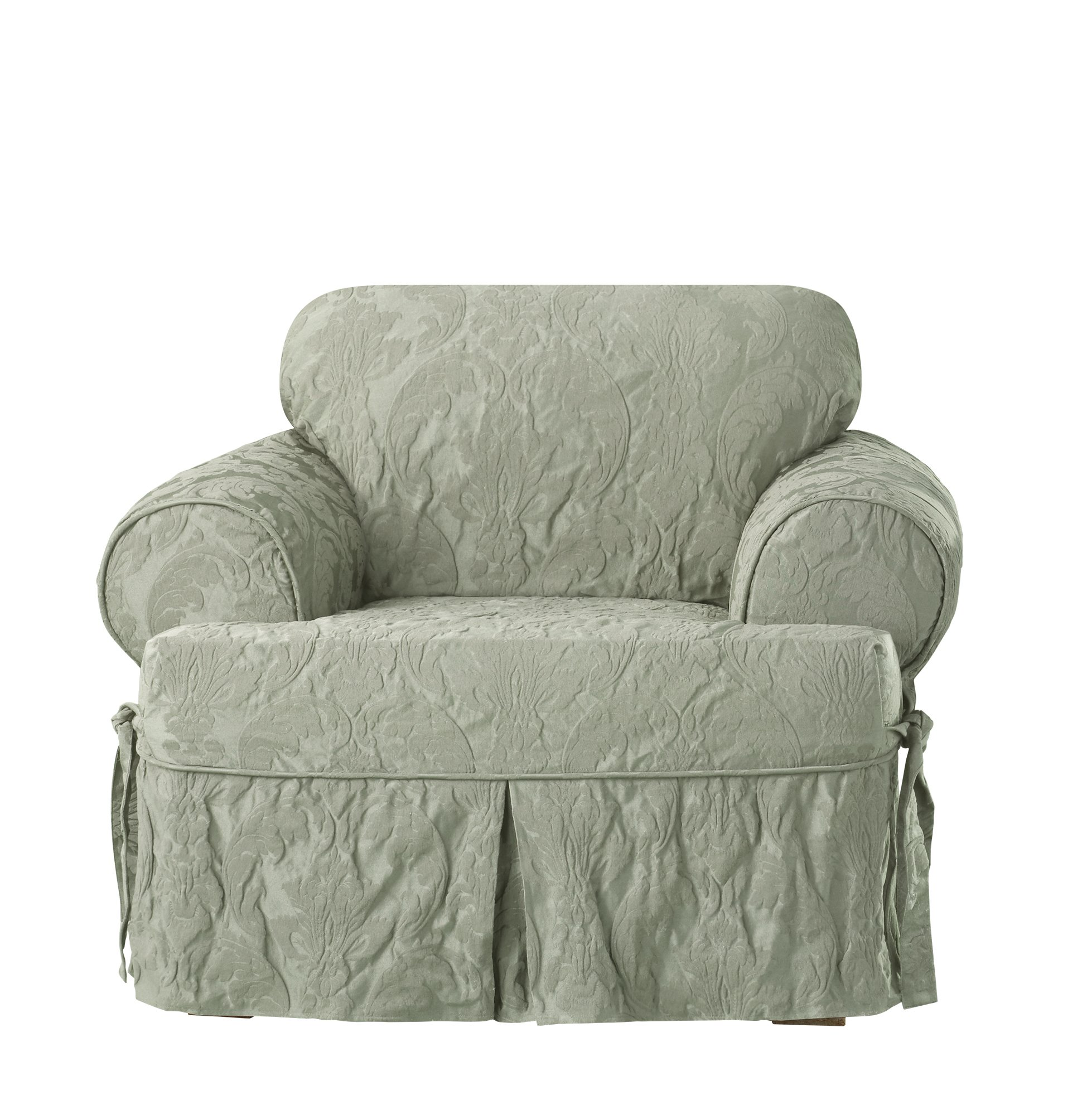 Sure Fit Matelasse Damask One Piece T-Cushion Chair Slipcover - Sage by Surefit