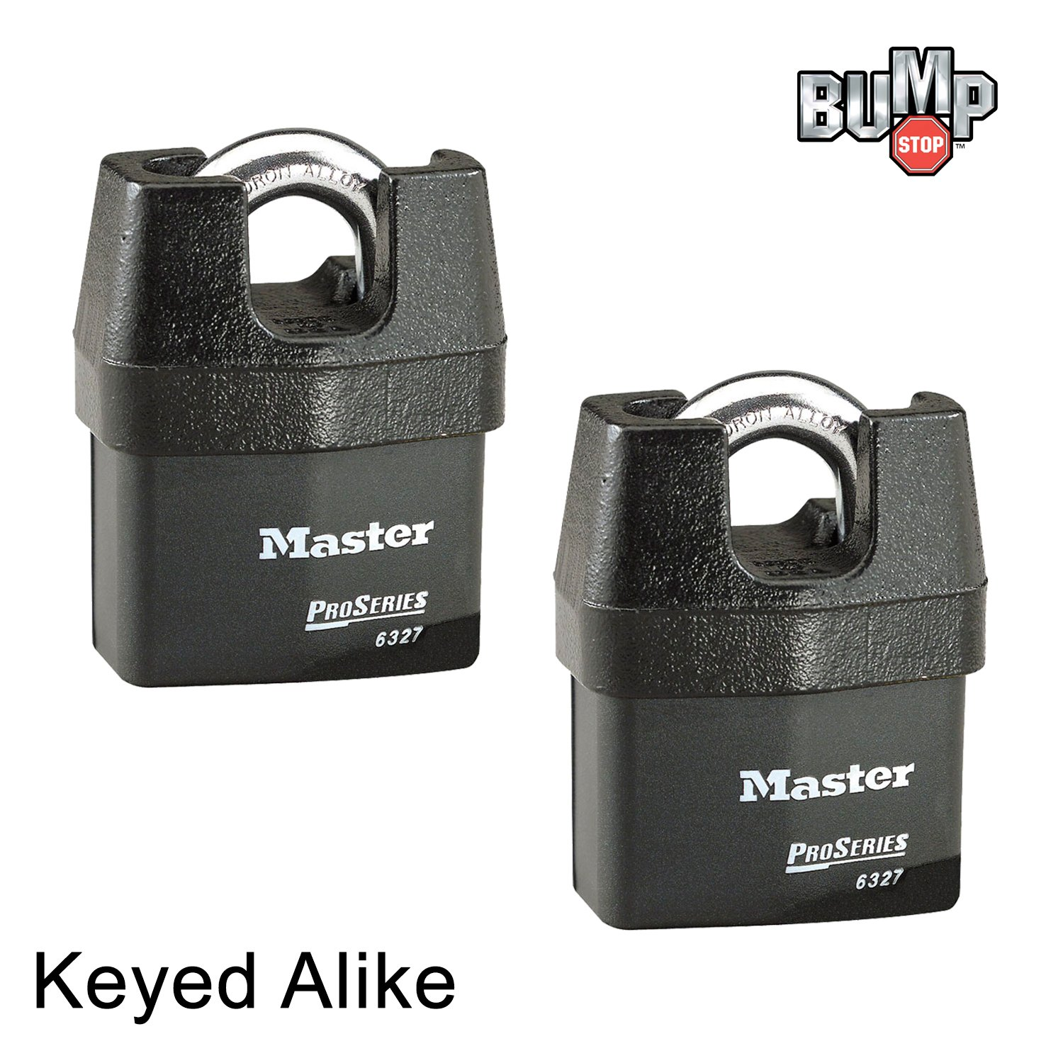 Master Lock Pro Series Padlock - (2) High Security Locks 6327NKA-2 w/  BumpStop Technology