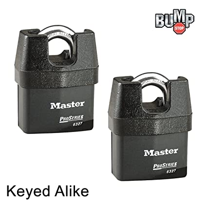c9b00f5f30a2 Master Lock Pro Series Padlock - (2) High Security Locks 6327NKA-2 w/  BumpStop Technology