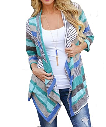 d66b328794 Women s Fashion Geometric Print Drape Front Cable Knit Cardigan at ...