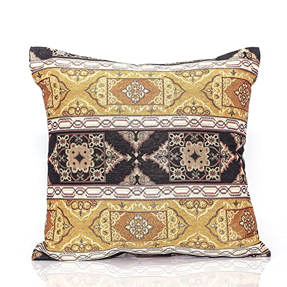 Nurtextil24 Kissenbezug Orientalisch Mega Auswahl Kelim Optik mit Reißverschluss Orient Kissenbezüge GoldSchwarz 60 x 60 cm