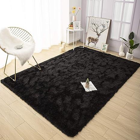 Amazon Com Yoh Super Soft Shag Fur Area Rug Bedroom Rugs Indoor Modern Fluffy Non Slip Accent Floor Carpet For Living Room Dorm Kids Room Rug Nursery Home Decor Black 5 X 8 Feet