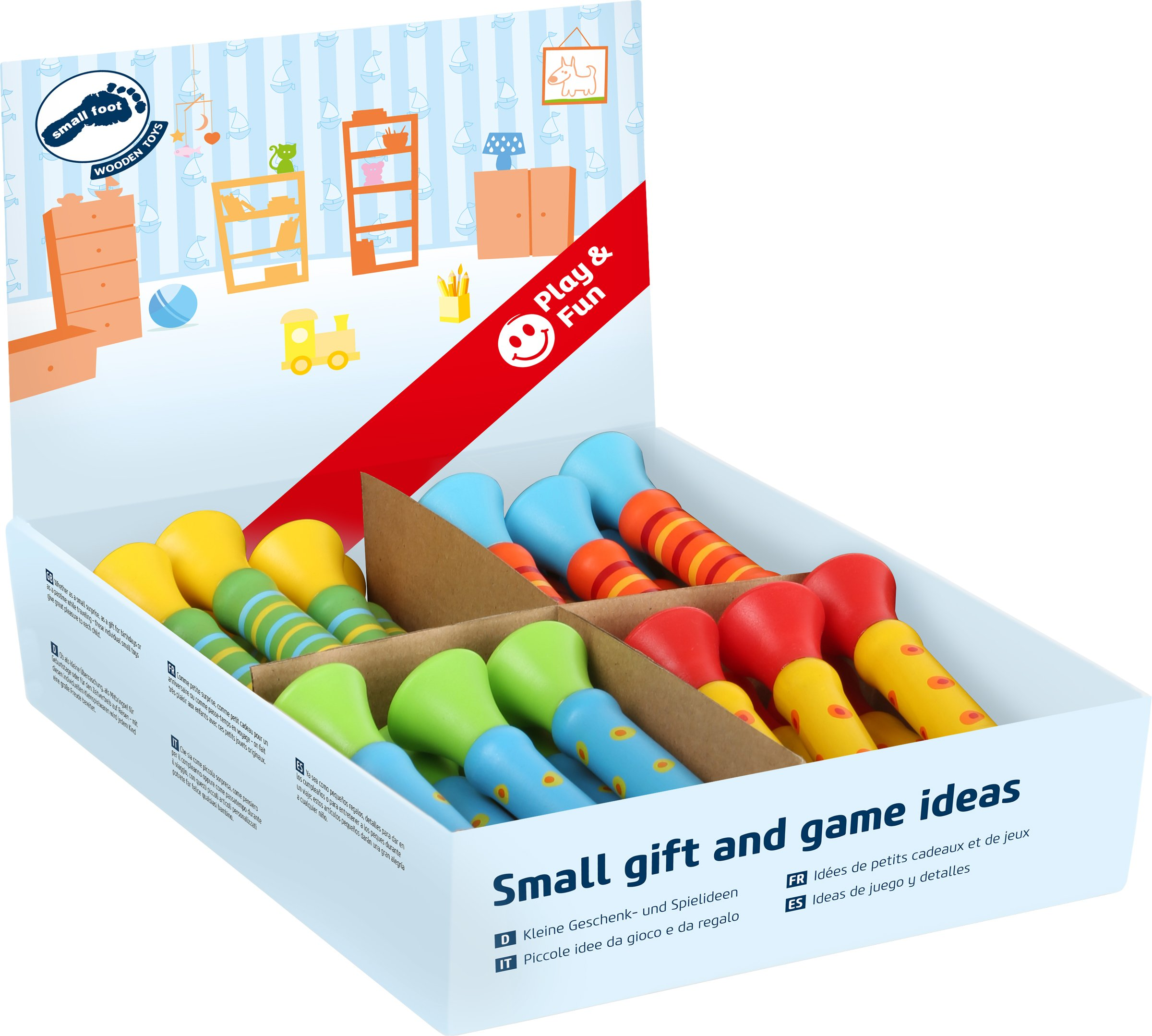 Small Foot 10695 Trumpets in Mini-Format Made of Colourful Wood and in Four Different Versions, Also Suitable for Making Music