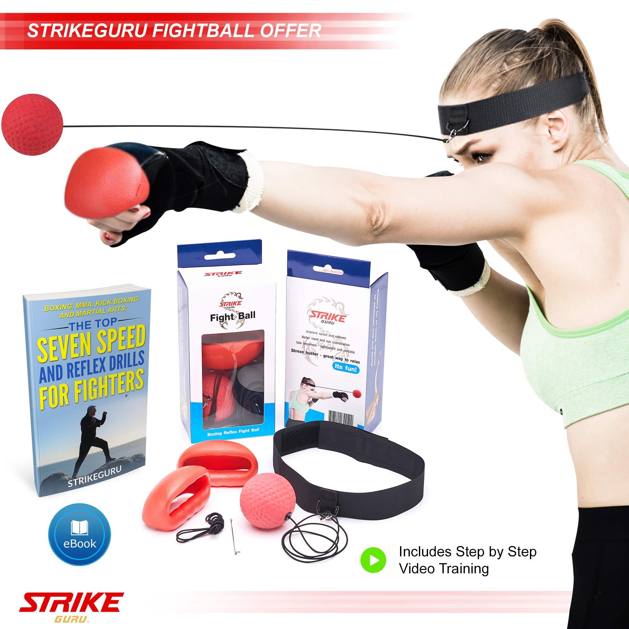 StrikeGuru Boxing Reflex Fight Ball, BONUS E-book, BONUS Step step Online VDO Training, Perfect Reaction, Agility, Punching Speed, Fight Skill Hand Eye Coordination Training by StrikeGuru