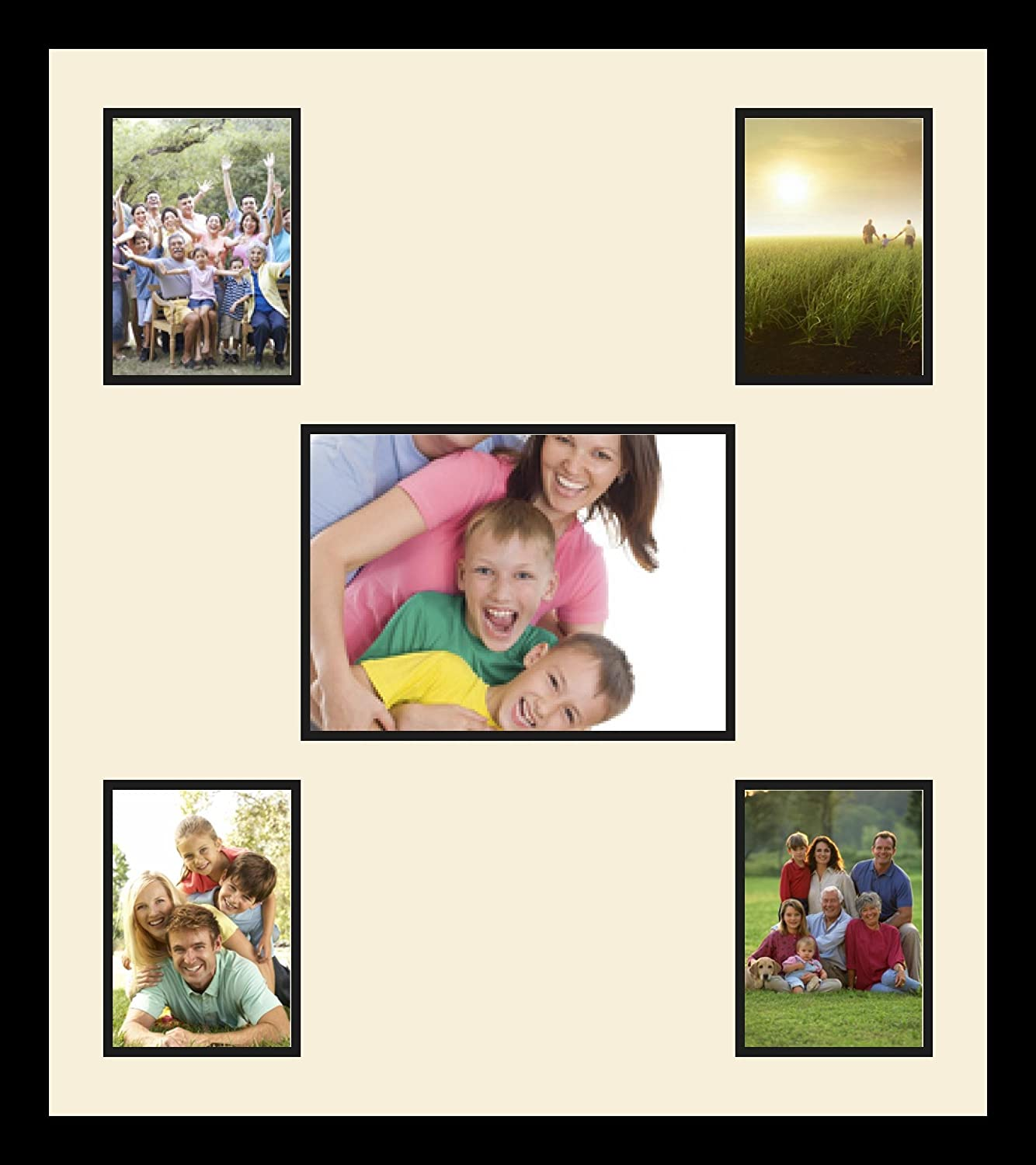 Art to Frames Double-Multimat-1382-836//89-FRBW26079 Collage Photo Frame Double Mat with 1-8x11 and 4-5x7 Openings and Satin Black Frame