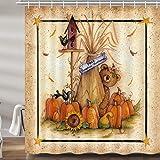 Fall Thanksgiving Shower Curtains for Bathroom, Retro Autumn Pumpkin Sunflower Bear Bath Curtain Set, Vintage Polyester…