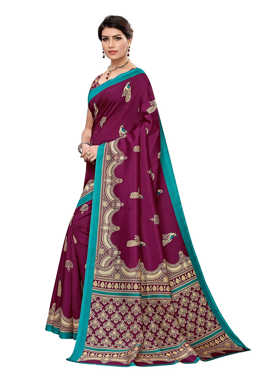 Peegli Saree Sari Casual Estampado Vino Sari Arte Seda Mujer Dise/ño Sari