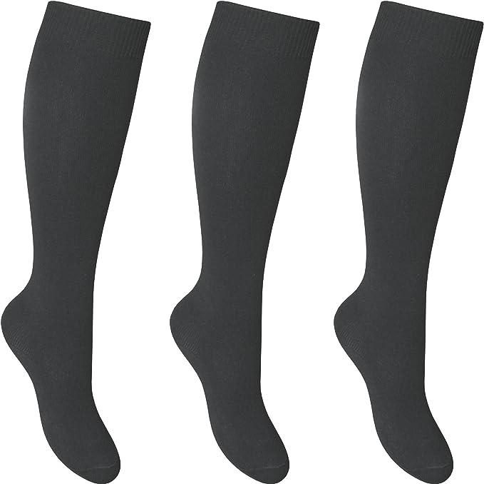 3 Pairs Girls Ladies Knee High Length School Uniform Office Wears Cotton Socks