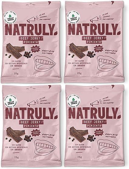 Natruly Beef Jerky Pimienta, Carne Seca 100% de Vacuno, Sin Gluten, Sin Lactosa, Sin Azúcar Refinado Añadido, Sin Aditivos Artificiales, Pack 4x25 g