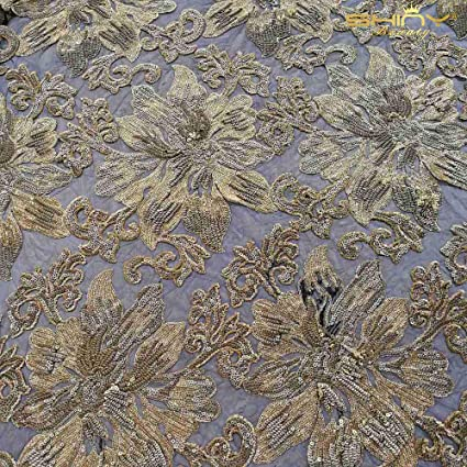 Amazon.com  5 Yards Embroidered Sequin Mesh Fabric Gold Flower 4-Way ... baed1f9992b6