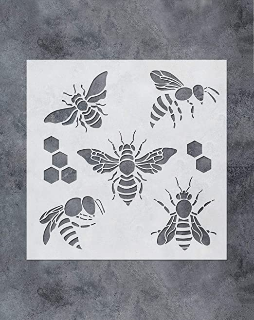 GSS Designs Bee Honeycomb Stencil - Reusable Mylar Bee Template for Painting Hive,Wall,Wood, Fabric, Furniture(12x12Inch) - Reusable DIY Art Painting Honey Comb Hexagon Stencil (SL-083)