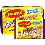 Maggi 2 Minutes Noodles - Biryani, 5 x 77g