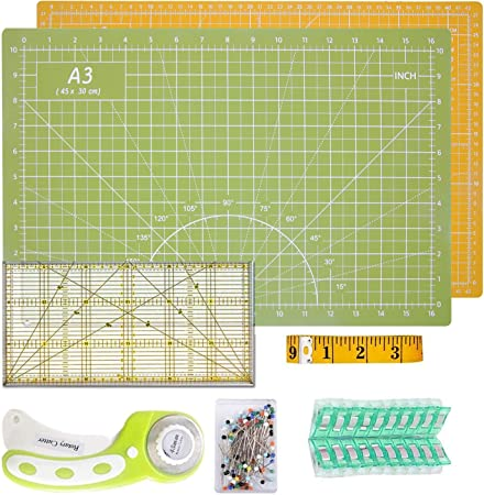 KEAYOO 45mm Rotary Cutter Quilting Kit,Quilting Supplies,A3 Cutting Mat Set of 6