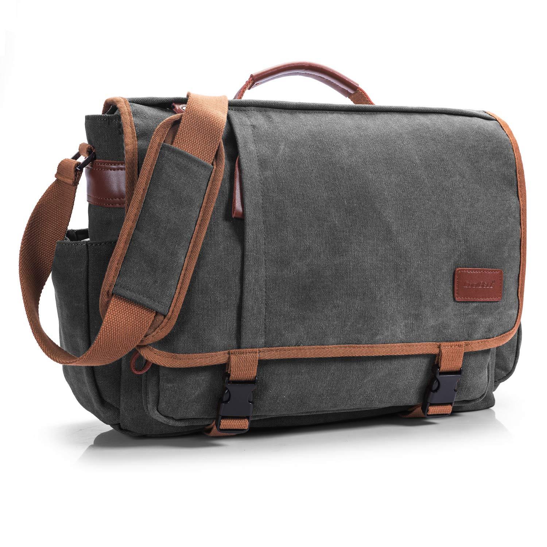 CoolBELL Messenger Bag 15.6 Inch Canvas Briefcase School Shoulder Bag Laptop Case Mens Handbag Business Briefcase Multi-Functional Travel Bag for Men/Work / College/Student (Dark Grey)