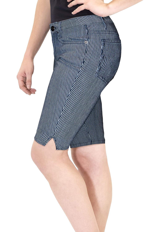 HyBrid /& Company Womens 11.5 Inseam Stretchy Denim Bermuda Short