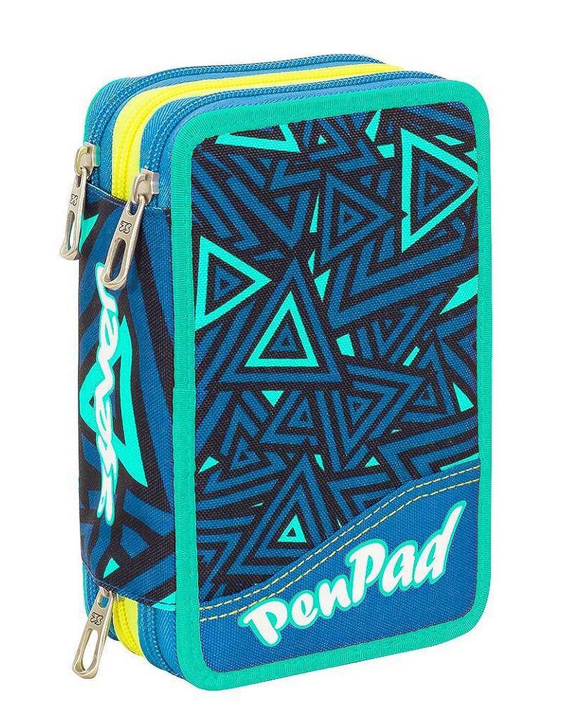 Blue School Pencil Case SEVEN 3 Zip SHIFTY BOY erasable pen felt tips eraser ecc