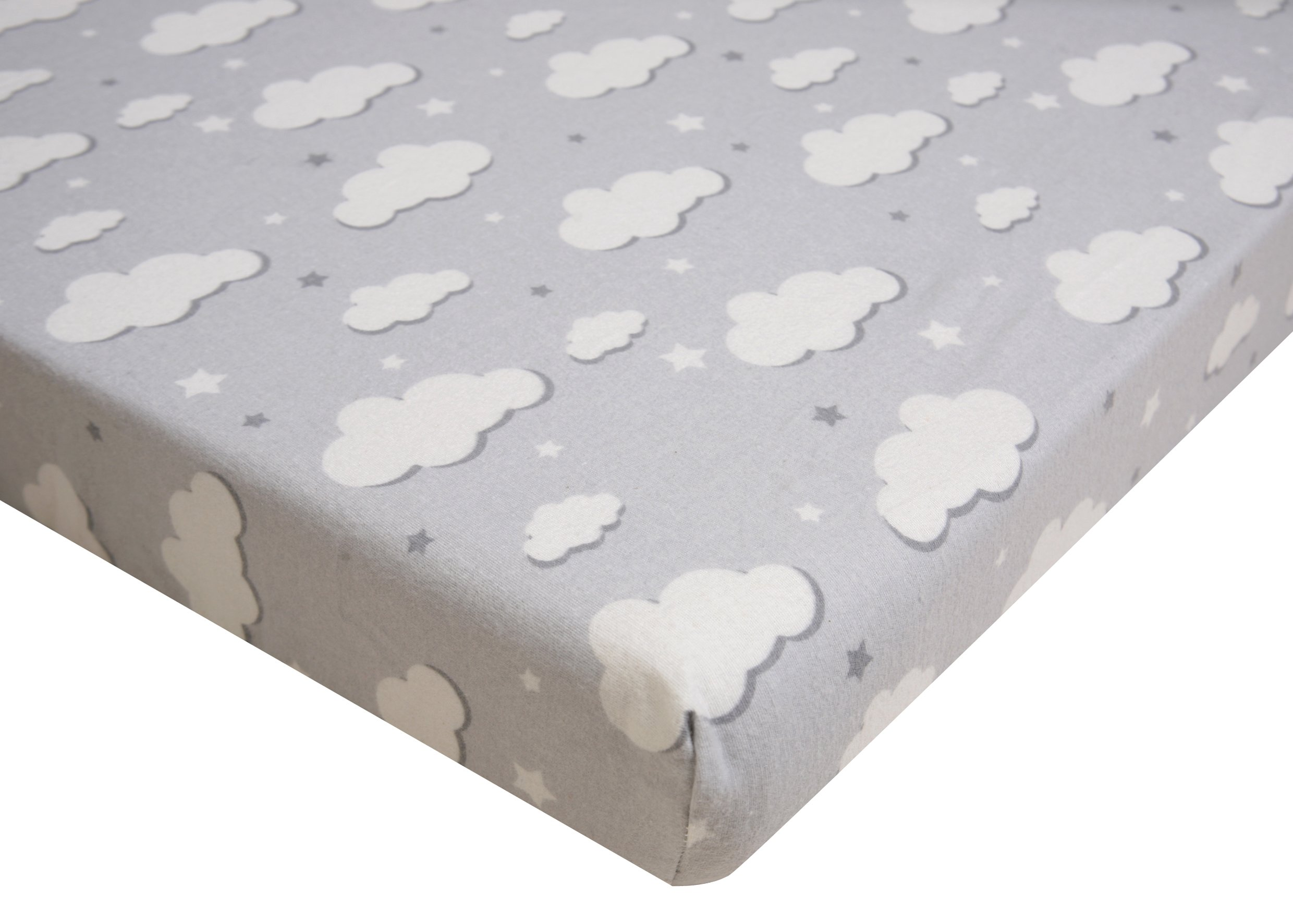 Pack N Play Playard Sheet 100% Premium Cotton Flannel,Super SOFT, Fits Perfectly Any Standard Playard Mattress up to 3'' Thick, CLOUDS