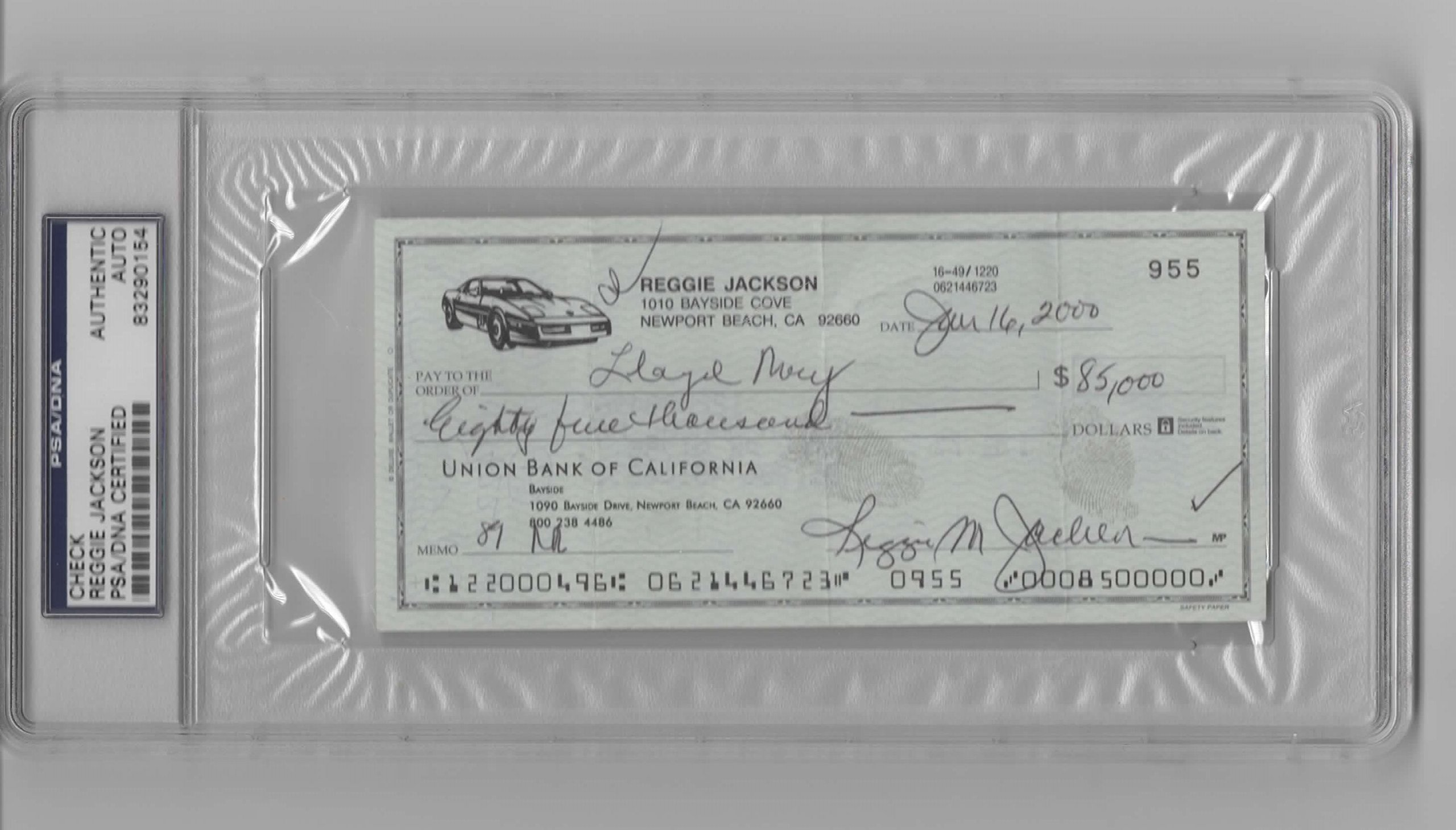 REGGIE JACKSON PERSONAL CHECK PSA/DNA SLABBED NEW YORK YANKEES