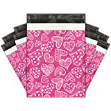 10x13 (100) Pink Hearts Designer Poly Mailers Shipping Envelopes Premium Printed Bags