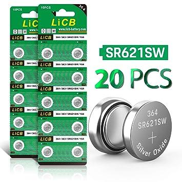 LiCB - Pilas de botón para Reloj, 20 Unidades, SR621SW AG1 364 363 LR621 1,55 V: Amazon.es: Electrónica