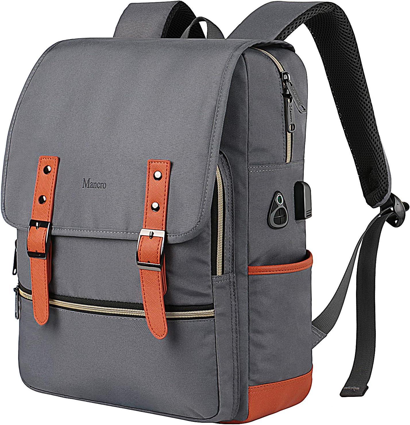 Vintage Laptop Backpack,Waterproof School College Backpack for Women Men with USB Charging Port Mancro Lightweight Travel Bag Fits 15.6 Inch Notebook Grey