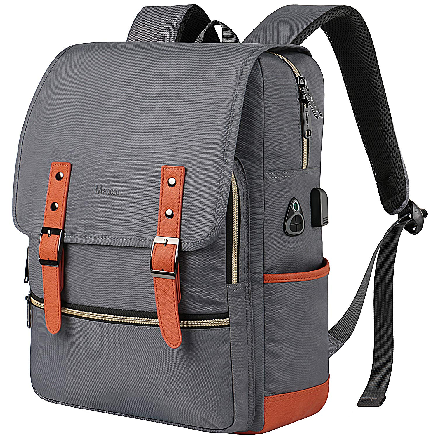 Vintage Laptop Backpack,Waterproof School College Backpack for Women Men with USB Charging Port Mancro Lightweight Travel Bag Fits 15.6 Inch Notebook Grey
