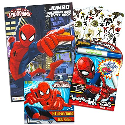 Amazon Com Marvel Spiderman Imagine Ink Coloring Book Set 1 Mess